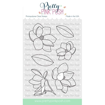 Pretty Pink Posh MAGNOLIA FLOWERS Clear Stamps