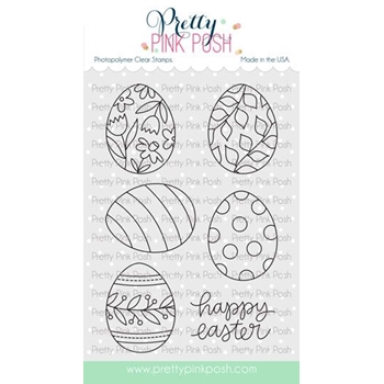 Pretty Pink Posh EASTER EGGS Clear Stamps