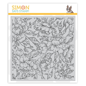 Simon Says Cling Rubber Stamp PRETTY PEONIES BACKGROUND sss101961 Fresh Bloom