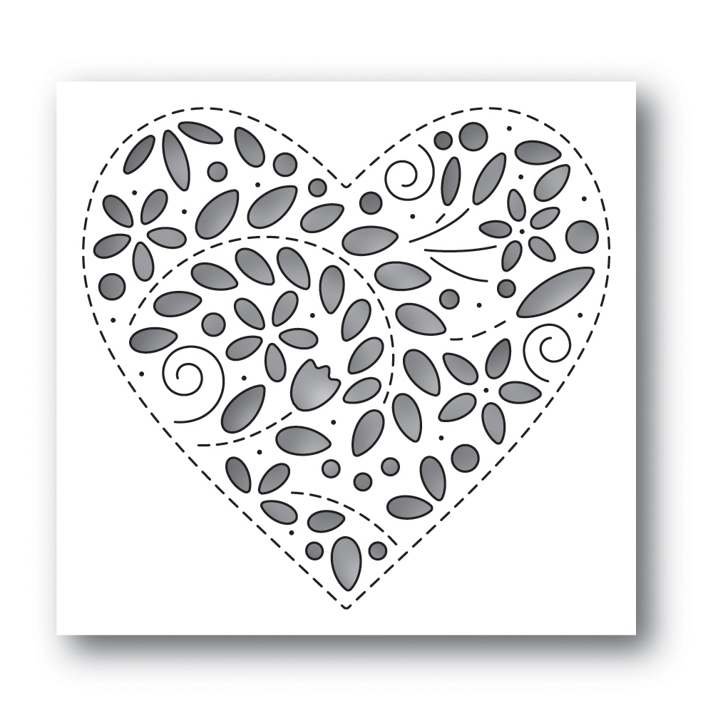 Simon Says Stamp FILIGREE HEART Wafer Die s637 Fresh Bloom zoom image