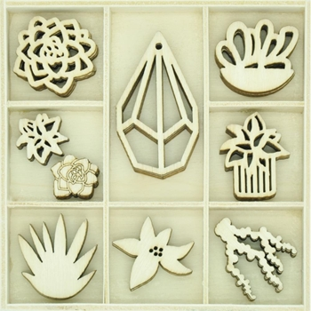 Kaisercraft SUCCULENTS Wooden Flourish Pack FL645