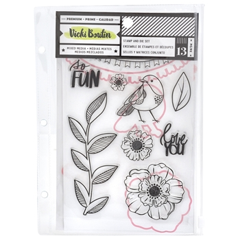 American Crafts Vicki Boutin SO FUN Clear Stamp and Die Set Color Kaleidoscope 351106