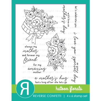 Reverse Confetti HATBOX FLORALS Clear Stamps