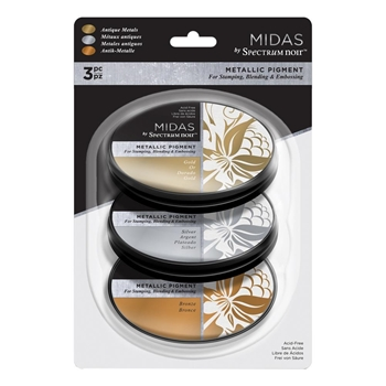 Crafter's Companion ANTIQUE METALS Spectrum Noir Midas Metallic Ink Pads sn-ip-mim3-amet