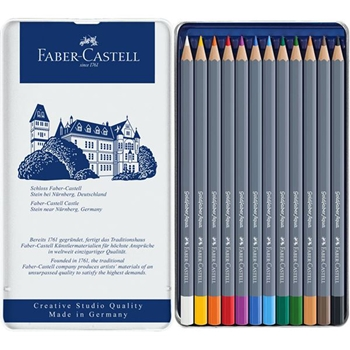 Faber-Castell GOLDFABER AQUA 12 Watercolor Pencils in Tin 114612