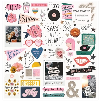 Crate Paper ALL HEART 12 x 12 Chipboard Stickers 350858