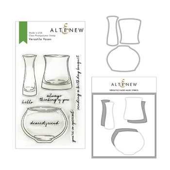 Altenew VERSATILE VASES Clear Stamp, Die and Stencil Bundle ALT3162