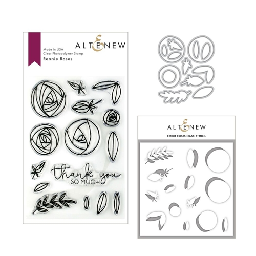 Altenew RENNIE ROSES Clear Stamp, Die and Stencil Bundle ALT3154 Preview Image