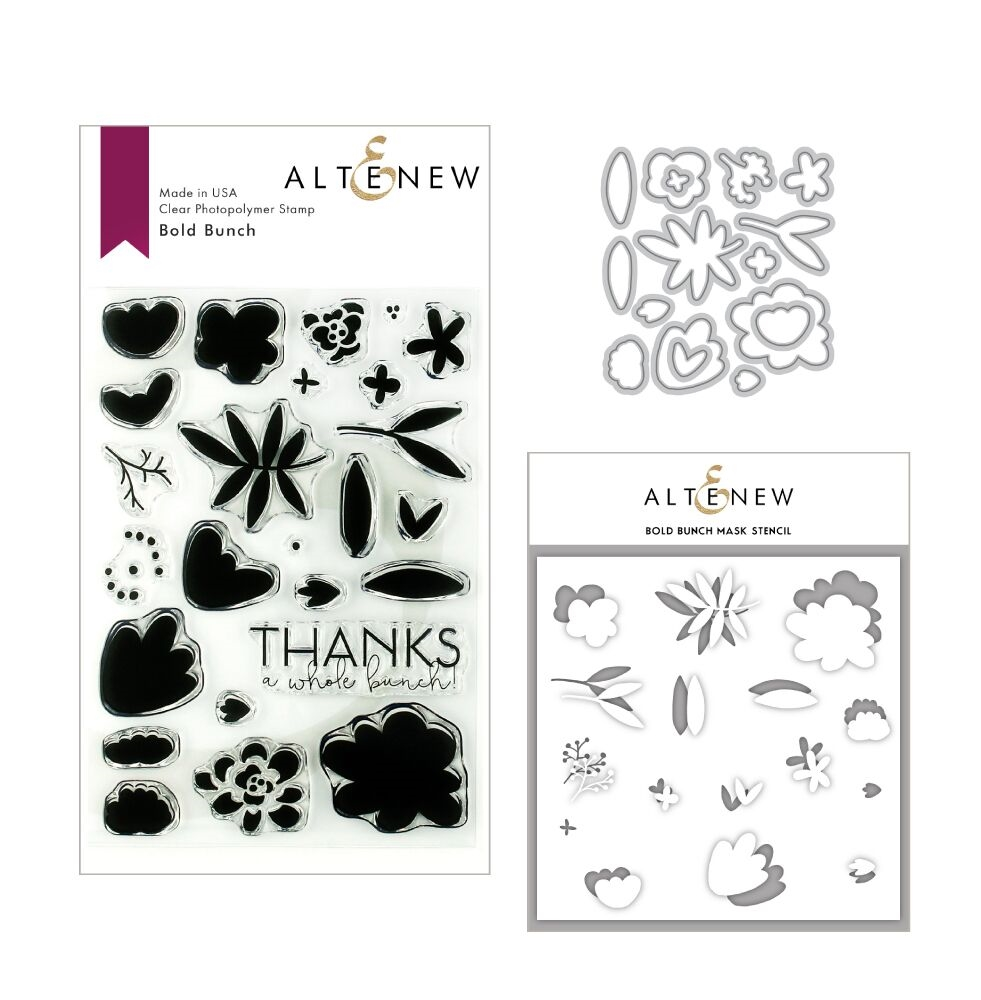 Altenew BOLD BUNCH Clear Stamp, Die and Stencil Bundle ALT3142 zoom image