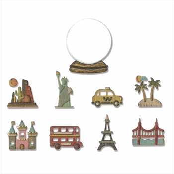RESERVE Tim Holtz Sizzix TINY TRAVEL GLOBE Thinlits Dies 664182