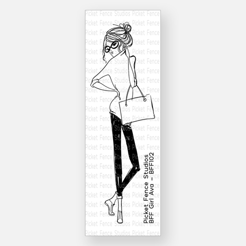 Picket Fence Studios BFF GIRL AVA Clear Stamp bff102 Preview Image