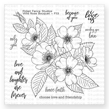 Picket Fence Studios WILD ROSE BOUQUET Clear Stamp Set f113