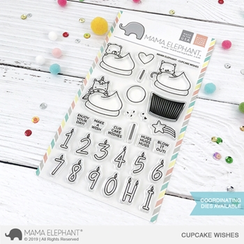 Mama Elephant Clear Stamps CUPCAKE WISHES