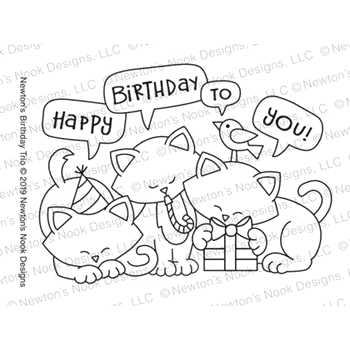 Newton's Nook Designs NEWTON'S BIRTHDAY TRIO Clear Stamp NN1903S01