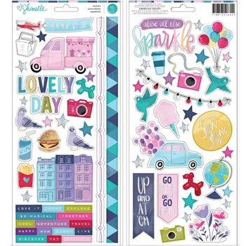 American Crafts Shimelle CARDSTOCK STICKERS Sparkle City 351330
