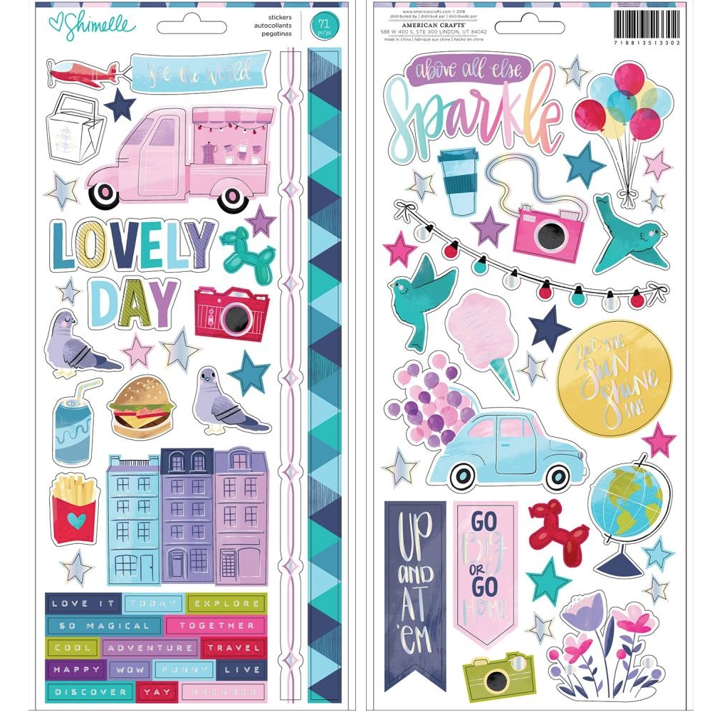 American Crafts Shimelle CARDSTOCK STICKERS Sparkle City 351330 zoom image