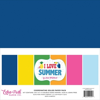 Echo Park I LOVE SUMMER 12 x 12 Double Sided Solids Paper Pack su178015