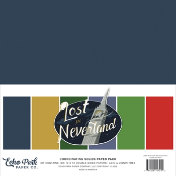 Echo Park LOST IN NEVERLAND 12 x 12 Double Sided Solids Paper Pack lin179015