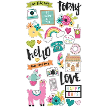 Simple Stories OH HAPPY DAY 6 x 12 Chipboard Stickers 10674