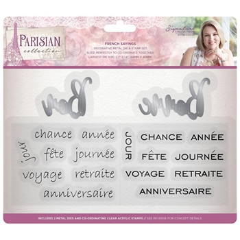 Crafter's Companion FRENCH SAYINGS Parisian Stamp & Die Set s-par-mds-frsa
