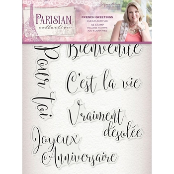 Crafter's Companion FRENCH GREETINGS Clear Stamps Parisian s-par-st-frgr