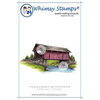 Whimsy Stamps RUSTIC COVERED BRIDGE Cling Stamp DA1111