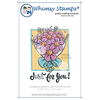 Whimsy Stamps SMILING FLOWERS Cling Stamp KHB145