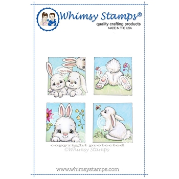 Whimsy Stamps BUNNY SPRING SQUARES Cling Stamp C1314