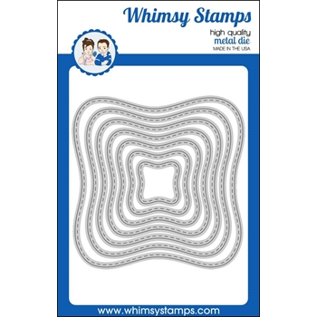 Whimsy Stamps WAVY STITCHED SQUARES Dies WSD371
