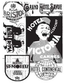 Tim Holtz Rubber Stamp HOTEL LABELS Stampers Anonymous V4-1131