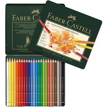 Faber-Castell POLYCHROMOS COLORED PENCILS 24 Piece Set in Tin 110024