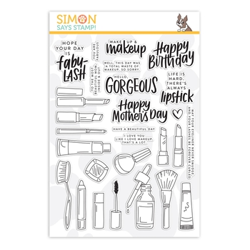RESERVE Simon Says Clear Stamps WAKE UP AND MAKEUP sss201973 Blossoms and Butterflies
