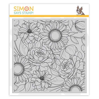 RESERVE Simon Says Cling Rubber Stamp FLORAL MIX BACKGROUND sss101974 Blossoms and Butterflies