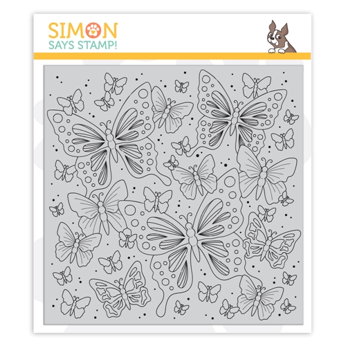 Simon Says Cling Rubber Stamp OUTLINE BUTTERFLIES sss101976 Blossoms and Butterflies Preview Image