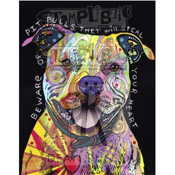 Stamplistic Cling Stamp BEWARE OF PIT BULLS Dean Russo l190410
