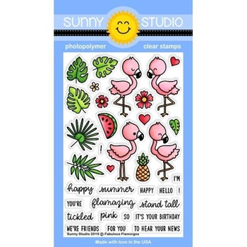 Sunny Studio FABULOUS FLAMINGOS Clear Stamps SSCL-217