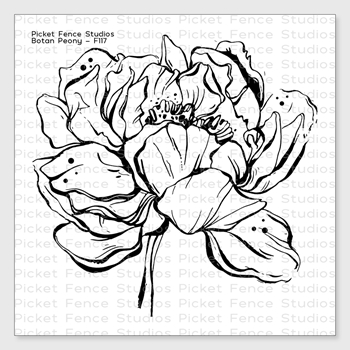 Picket Fence Studios BOTAN PEONY Clear Stamp f117