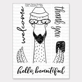 Picket Fence Studios HELLO BEAUTIFUL Clear Stamp Set a121