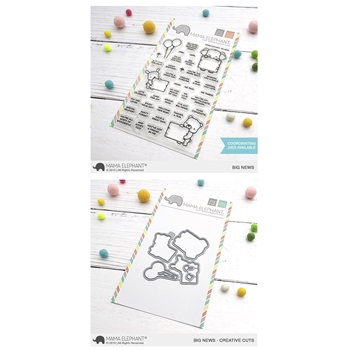 Mama Elephant Clear Stamp and Die mept616 Big News SET