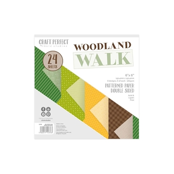 Tonic WOODLAND WALK Craft Perfect Luxury Embossed 6 x 6 Paper Pack 9376e