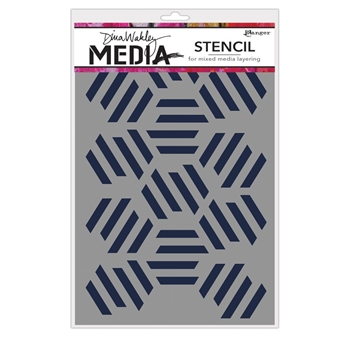 Dina Wakely FRACTURED HEXAGONS Media Stencil MDS65029