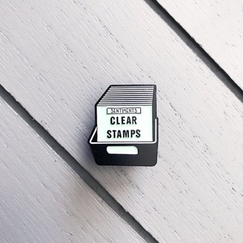 The Gray Muse CLEAR STAMPS BIN Enamel Pin tgm-a19-p07
