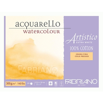 Fabriano Artistico Extra White Cold Pressed #140 Paper ( 5 x 7 Block of 25 sheets)