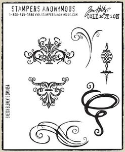 Tim Holtz Cling Rubber Stamps SKETCH ELEMENTS Stampers Anonymous CMS054