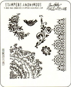 Tim Holtz Cling Rubber Stamps FLORAL TATTOO Stampers Anonymous CMS059
