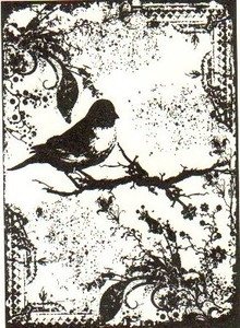 Tim Holtz Cling Rubber ATC Stamp TATTERED SPARROW Bird COM031 Preview Image