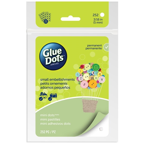 252 GREEN 33709 MINI GLUE DOTS 21 Adhesive Sheets Clear M1004 Preview Image