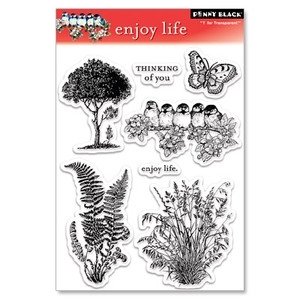 Penny Black Clear Stamps ENJOY LIFE Butterfly Bird Flowers 30-032