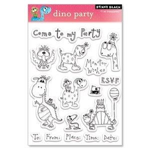 Penny Black Clear Stamps DINO PARTY Happy Birthday 30-030