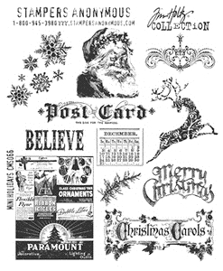 Tim Holtz Cling Rubber Stamps MINI HOLIDAYS Stampers Anonymous CMS066